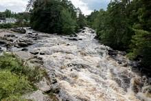 Wild Stream And Falls Of Dochart In Killin, Scotland, UK After Rain With Muddy Water