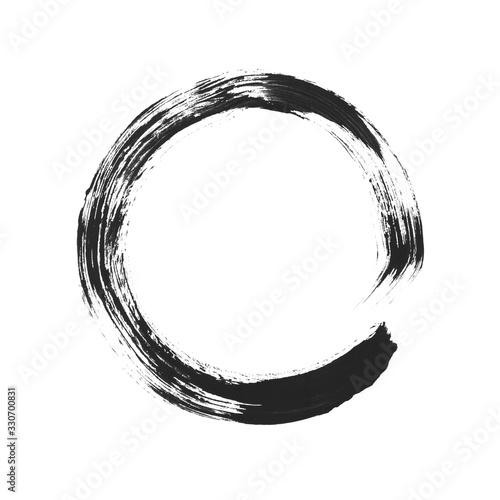 Schwarzer Abdruck von einem Pinsel Kreis Fototapet
