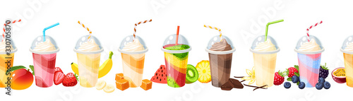 Obraz na plátně Seamless colorful fruit milkshake set design