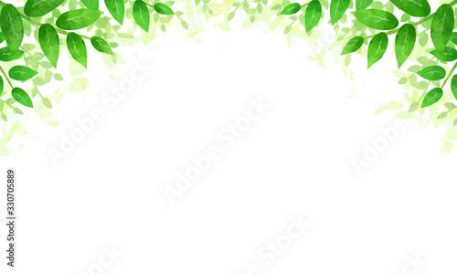 手書き風の葉っぱのフレーム Fotobehang