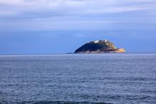 Alassio (SV), Italy - December 12, 2017: Gallinara Island View From Alassio, Riviera Dei Fiori, Savona, Liguria, Italy.