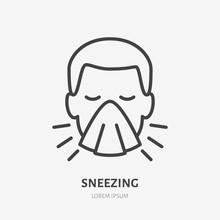 Sneezing Man Line Icon, Vector...
