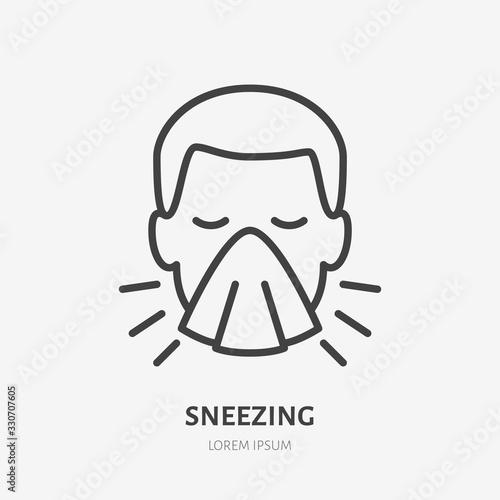Sneezing man line icon, vector pictogram of flu or cold symptom Wallpaper Mural