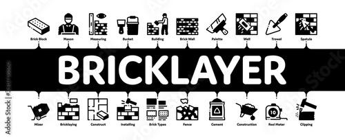 Fototapeta Bricklayer Industry Minimal Infographic Web Banner Vector. Professional Bricklayer Worker, Mason Layer Equipment For Construct Brick Wall Illustrations obraz