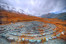 A Magical Place In The Mountains. Ancient Mazes Of Stones. Mountain Landscape.