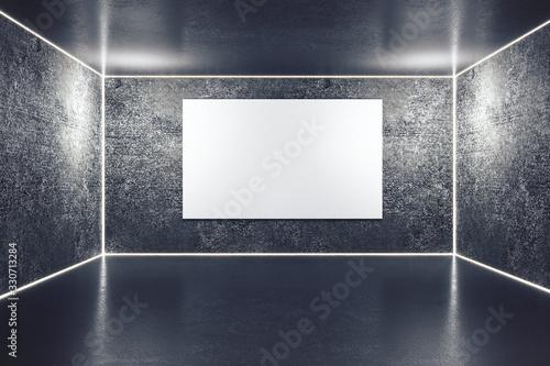 Obraz Modern gallery interior with blank billboard. - fototapety do salonu
