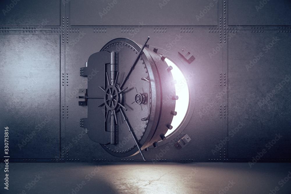 Fototapeta Closed gray safe metal door.