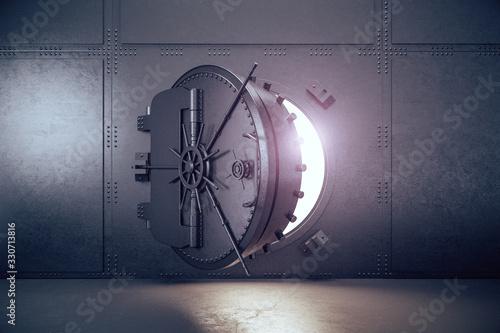 Fototapeta Closed gray safe metal door. obraz