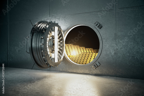 Photo Open gray safe with gold bars.