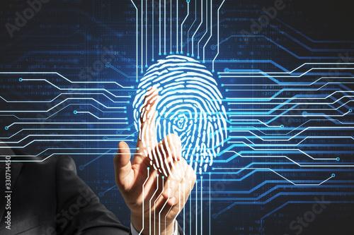 Human finger touching digital screen with fingerprint Wallpaper Mural