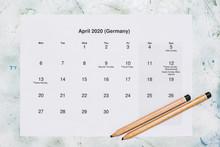 Monatskalender April 2020. Translation: Monthly April 2020 Calendar