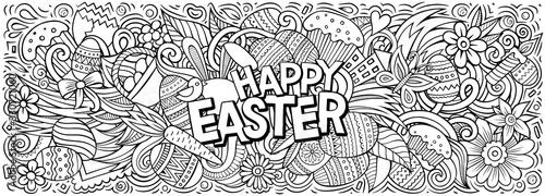 Obraz Happy Easter hand drawn cartoon doodles illustration. - fototapety do salonu