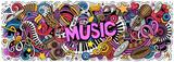 Fototapeta Młodzieżowe - Music hand drawn cartoon doodles illustration. Colorful vector banner