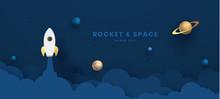 Paper Art Style Of Rocket Flyi...