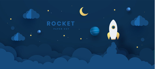 Rocket ship launch icon paper art style with abstract background. Start up business concept design.Vector illustration.