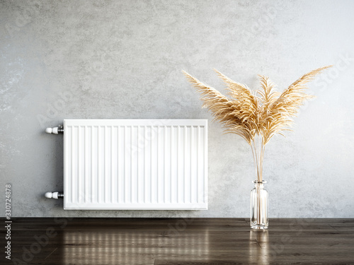 Fotografía Heating metal radiator, white radiator