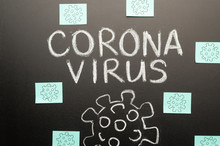 2019-ncov Coronavirus, A Blackboard And A Drawing Of A Dangerous Virus, And Many Stickers.Concept Warning, Epidemic And Pandemic.New Screen Saver