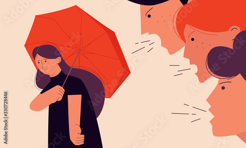 Victim blaming concept vector illustration with a girl trying to hide from her offenders under an umbrella Canvas Print