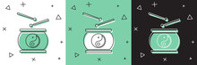 Set Chinese Drum Icon Isolated...