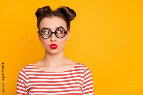 Vászonkép Closeup photo of pretty lady student send air kiss strange facial expression loo