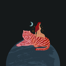 Girl And Tiger Are Sitting On Planet Earth. Cosmic Minimalistic Landscape Scene. Vector Illustration