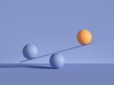 3d render, balls placed on scales, isolated on violet background. Primitive geometric shapes. Balance, comparison metaphor. Modern minimal design