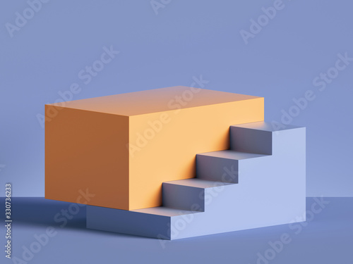 Fototapeta 3d render, abstract minimal background. Yellow steps, stairs isolated on violet. Blank pedestal, empty podium. Shop product display, showcase. Architectural element, primitive shape. obraz
