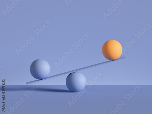 Canvas Print 3d render, balls placed on scales, isolated on violet background