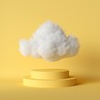 Leinwandbild Motiv 3d render, white fluffy cloud flying above the cylinder pedestal, stairs, steps, round podium, minimal room interior. Isolated objects, bright yellow background, modern design, abstract metaphor