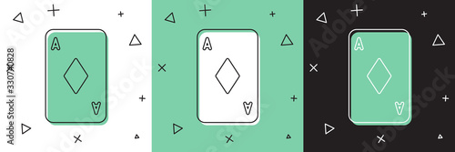Obraz na płótnie Set Playing card with diamonds symbol icon isolated on white and green, black background
