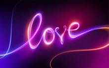 Love Lettering, Red Pink Neon,...