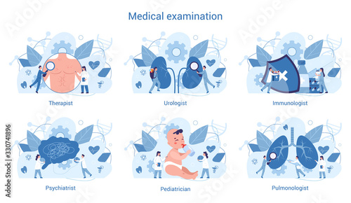 Medical specialty and examination set. Therapist and urologist, Fototapet