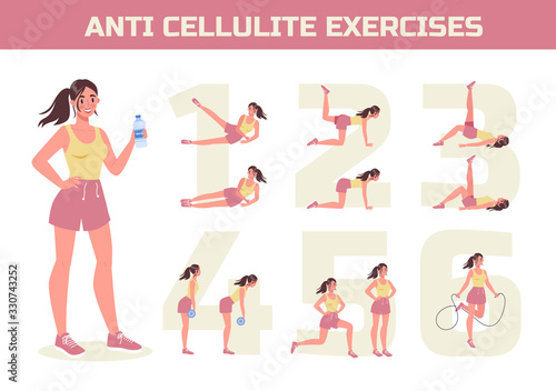Obraz Anti cellulite exercises program for losing weight. Become slim - fototapety do salonu