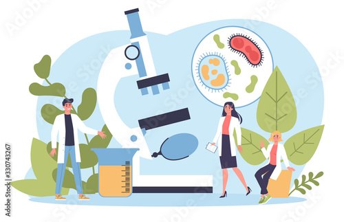 Tableau sur Toile Biology science concept. People with microscope make laboratory