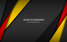 Made In Germany, Modern Vector Background With German Colors, Overlayed Sheets Of Paper In The Colors Of The German Tricolor, Abstract Widescreen Background