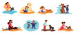 Children play with their dogs set. Collection of happy kid and pet