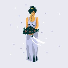 Hand Drawn Vector Abstract Graphic Illustration With Beautiful Wedding Bride Girl Character In Purple Dress Isolatedon White Background