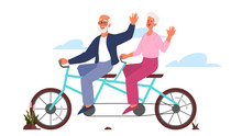 Old Man And Woman Riding Their...