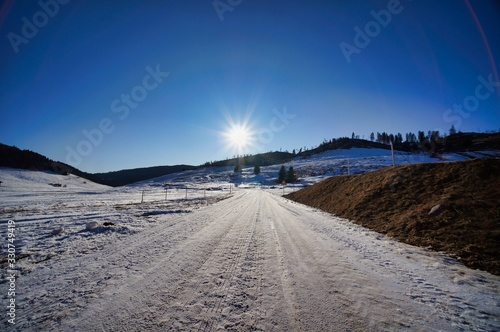 Photo road in winter, photo as a background