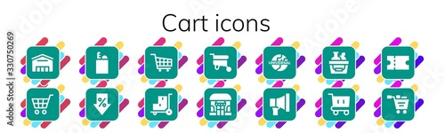Fotografering Modern Simple Set of cart Vector filled Icons