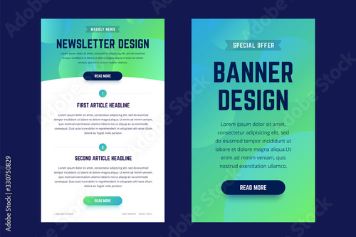 Fotografía Newsletter, email design template, and vertical banner design template