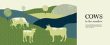 Horizontal agricultural background. Geometrical composition. Silhouettes of cows.