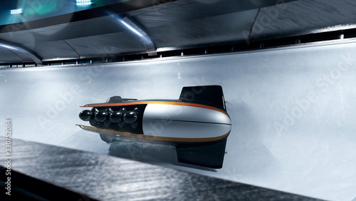 Canvas-taulu Bobsleigh sport in evening. Render 3D. Illustration.