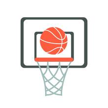 Basketball Hoop, Basket, Net, Ball. Flat Vector Illustration.