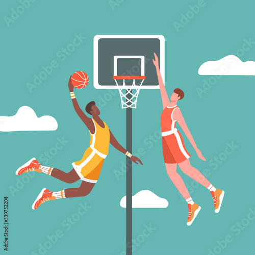 Fotografia Two basketball players in action during the game