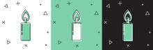Set Burning Candle Icon Isolat...