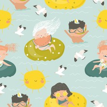 Seamless Pattern Of Kids Having Fun And Swimming In The Sea