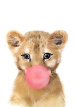 Lion With Bubblegum Print • ...