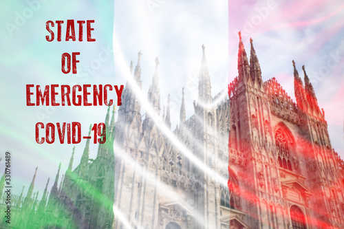 Obraz Italy sweeping emergency state restrictions to combat the spread of the virus. - fototapety do salonu