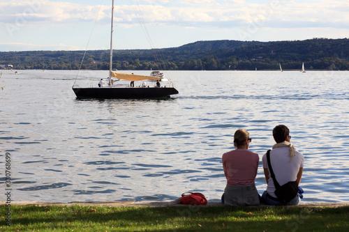 Angera (VA), Italy - September 15, 2016:  Tourist relaxing at Angera Lake, Angera, Maggiore Lake, Varese, Lombardy, Italy Tablou Canvas